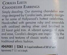 """FRANKLIN MINT Coralia Leets $263 Chandelier Earrings 2"""" Rubies Emeralds Sterling"""