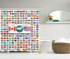 World Country Flag Name American USA Canada Globe Earth Education Shower Curtain