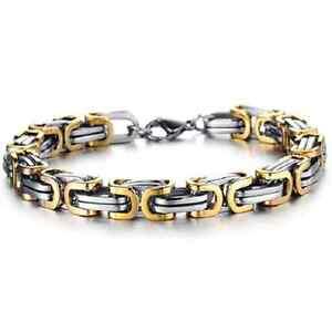 Bracciale,bi-color catena braccialetto UOMO Argento / oro Acciaio titanium Steel