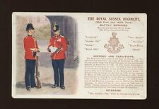 Military ROYAL SUSSEX REGIMENT Battle Honours artist Ibbetson c1910s? PPC G&P