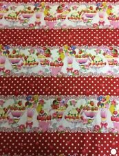 Red Ice Cream Sundae 100% Cotton Fabric Material BY HALF METRE