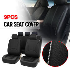 9 PCS Breathable PU Leather Car Seat Cover Full Seat Protector Set Front & Rear