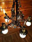 Antique/Vtg 1920s Tudor Cast Brass-Bronze Chandelier Light, Spanish, Arts/Gothic