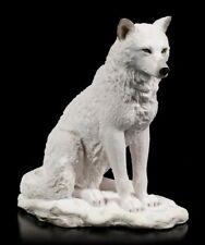 Weiße Wolf Figur sitzend - Statue Deko Wölfe Wildlife Veronese