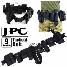 Army Police Guard Tactical Belt Buckles With 9 Pouches Utility Security System