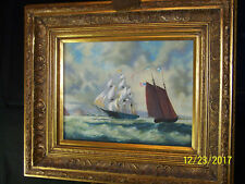 Americana Original Nautical Seascape Oil w/Gold Gilded Wood Frame