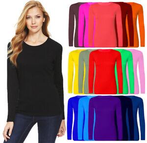 Women Long sleeve T shirt Top Ladies Plain Round Neck Tee Top UK Plus Size 8-26