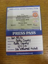 02/11/2010 BIGLIETTO: Hartlepool United V Notts County [PRESS PASS]. bobfrankandel