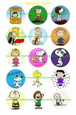 """SNOOPY THE PEANUTS GANG 15 2"""" CIRCLES  CUPCAKE TOPPERS *****FREE SHIPPING*****"""