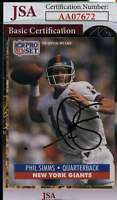 Phil Simms 1991 Pro Set Jsa Coa Hand Signed Authentic Autograph