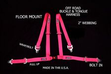 RJS RACING OFF ROAD HARNESS FLOOR MOUNT BUGGY BELT 4 POINT HOT PINK SAND RAIL