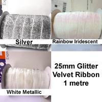 25mm Sparkle Headband Velvet String Ribbon Fabric Glitter Silver White 1m