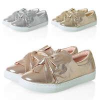 Hailys Damen Slipper mit Schleife Sneaker Slip-Ons Metallic Schuhe Damenschuhe