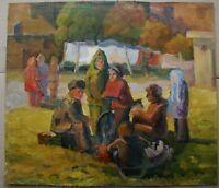 Russian Ukrainian Soviet Oil Painting realism post-war childhood genre town
