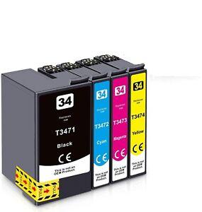 4 Ink Cartridges for Epson 34XL WorkForce Pro WF-3720DW WF-3720DWF WF-3725DWF