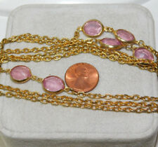 "Bezel set Pink Violet Glass 56"" Gold tone Chain Necklace 2j 9"