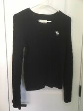 Abercrombie & Fitch Womens Sweater LARGE Navy Blue Cable Knit Crew