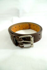 Men's Size Large Genuine LEATHER BELT BROWN 2-Prong Metal Buckle NEW