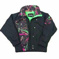 Snuggler Womens Ski Jacket Black Abstract Zipper Snap Long Sleeve Pocket Lined M