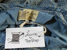 Laura L @ Topshop Tiny Heart Print Blue Dress Vintage Style Embroidery BNWT Sml