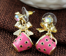 New Betsey Johnson fashion Lovely pink teacup and bow earrings N393