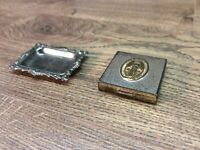 Antique Metal Religious Compact Case And Trinket Tray A6