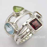 925 Pure Silver Natural MULTISTONE MULTICOLORED URBAN STYLE Ring Any Size GIFT