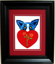 "GEORGE RODRIGUE BLUE DOG VALENTINE CARD - MATTED & FRAMED -11"" x13"" overall size"