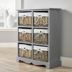 Grey Wooden Storage Unit 6 Drawer Chest Water Hyacinth Basket Hallway Organiser