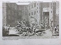 Massacre de Septembre 1792 Prisonniers Abbaye Rare Gravure Révolution Française