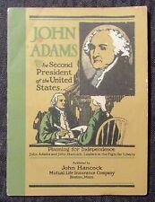 Vintage JOHN ADAMS President John Hancock Life Insurance Co. VG+ 4.5 Booklet