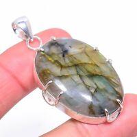 "Labradorite Gemstone Handmade 925 Silver Jewelry Pendant 2.13"" VK-2042"