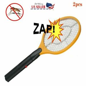 2x Yellow Electronic Bug Zapper Mosquito Insect Electric Fly Swatter Racket Bat