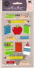 Stickopotamus School Supplies Stickers - Glue, Pencil, Crayons, Notebook, Apple