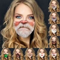 Christmas Funny Mustache Beard Face Mask Cover Facemask Mouth Custom Printed UK