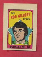 RARE 1971-72 OPC RANGERS ROD GILBERT ENGLISH BOOKLET INSERT