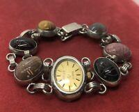 "Vintage Bracelet Watch Scarab Belle Double Egyptian Revival Beetle 7"""