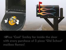 Mailbox decals stickers - Hot Rod Flames - 5pc set - Color: White Hot Fire