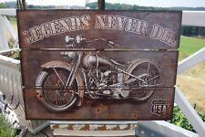 Nostalgie Holzbild Motorrad Legends Never Die Deko Wandbild 50 x 70 cm Retro NEU