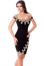 New black & gold lace bodycon mini dress club party wear size UK 10-12