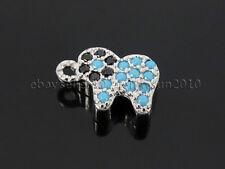 Turquoise Black Zircon Gemstones Pave Elephant Bracelet Connector Charm Beads