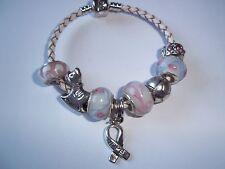 CHILDS 6 1/2 inch Cancer AWARENESS European PINK Glass Bead HOPE Bracelet N-19