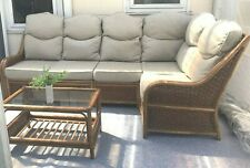 Large CONSERVATORY CORNER SOFA SUITE with TABLE 8ft long cane wicker bamboo RARE