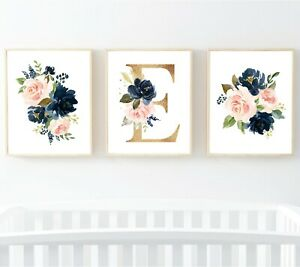 3 Navy Blush Gold Floral Personalised Monogram Nursery Prints Flowers Art 623-A