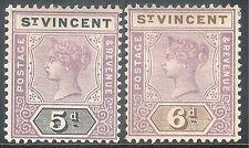 St Vincent 1899 mauve/black 5d mauve/brown 6d mint SG72/73