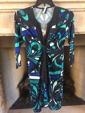 New OLIAN Maternity Swirl Print Twist Tie 3/4 Sleeve Dress Small Blue