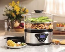 Food Steamer Electric Cup Rice Cooker Digital Stainless Two Tier Steam Fish Meat