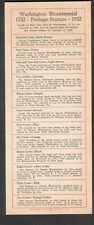 Linn's Weekly Stamp News Columbus Oh list of Washington Bicentennial stamps 1932