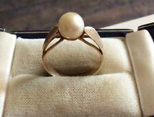 Elegant Ladies Vintage Continental Stamped Solid 18ct Gold Cultured Pearl Ring