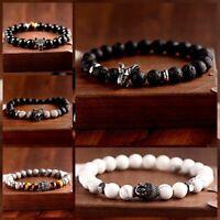 New Natural Stone Lava Stone Wolf Buddha Beads Elephant Head Men Women Bracelets